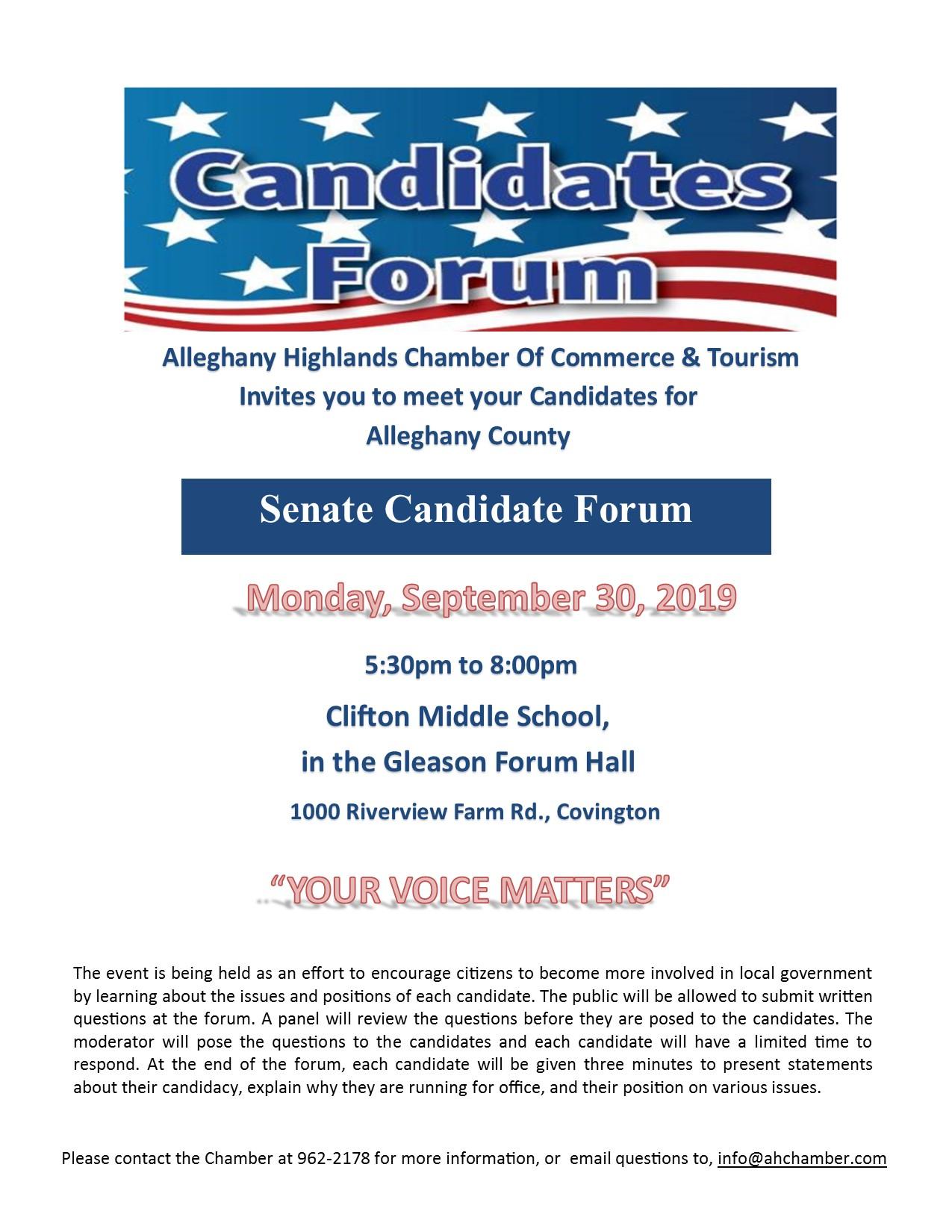 2019-Senate Candidate Forum-Flyer.pub Alleghany County